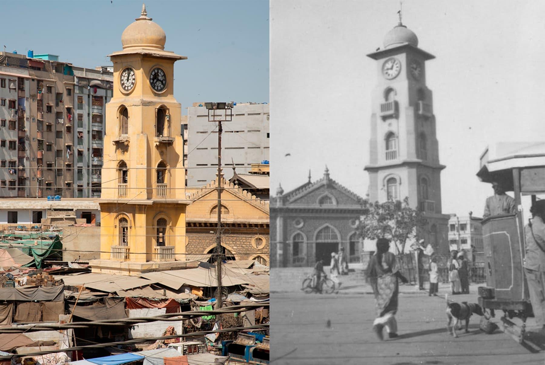 (دائیں)40ء کی دہائی میں لی مارکیٹ کا نظارہ، (بائیں) لی مارکیٹ کا موجودہ نظارہ