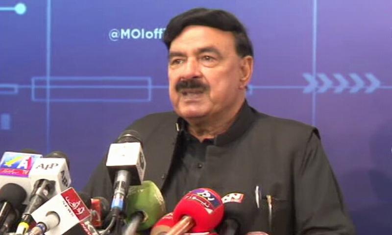 Interior Minister Sheikh Rashid addresses a press conference in Islamabad on Wednesday. — DawnNewsTV