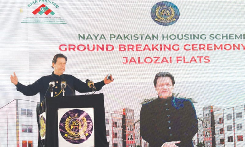 PRIME Minister Imran Khan addressing the ground-breaking ceremony of Jalozai Flats here on Wednesday. The flats are being constructed under the Naya Pakistan Housing Scheme.—APP