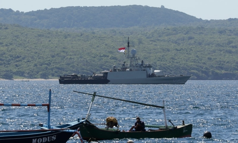 Indonesian Navy ship KRI Singa sails to take part in the search for submarine KRI Nanggala that went missing while participating in a training exercise. — AP