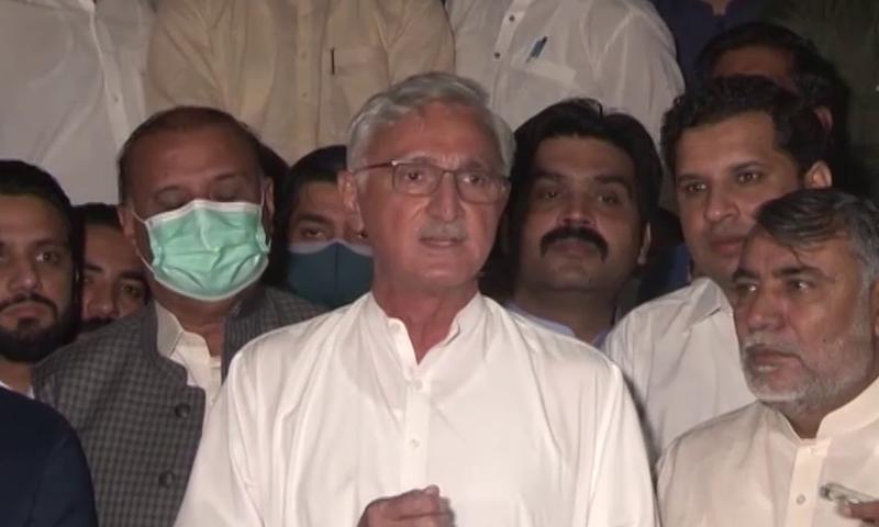 Jahangir Tareen speaks to the media outside the sessions court on Thursday. — DawnNewsTV