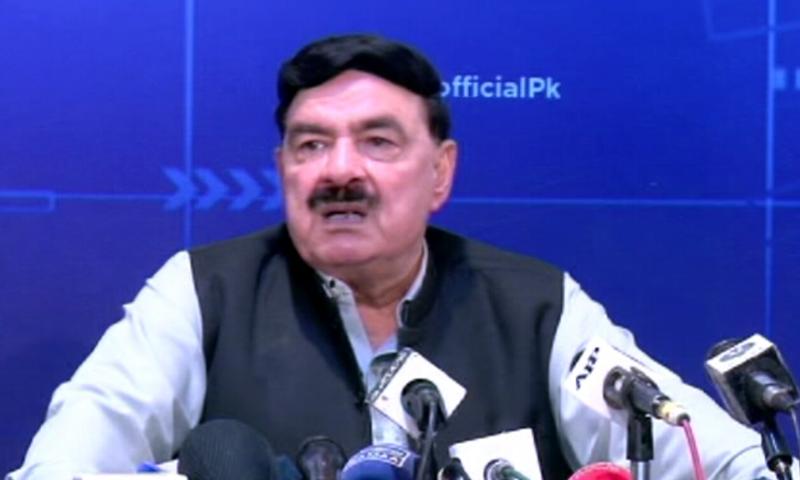 Interior Minister Sheikh Rashid speaks to the media in Islamabad. — DawnNewsTV