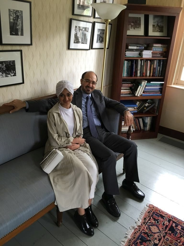 Former Saudi intelligence official Saad al-Jabri (R) sits with his daughter Sarah al-Jabri whilst visiting schools around Boston, US in this handout picture shot in the autumn of 2016. — Reuters
