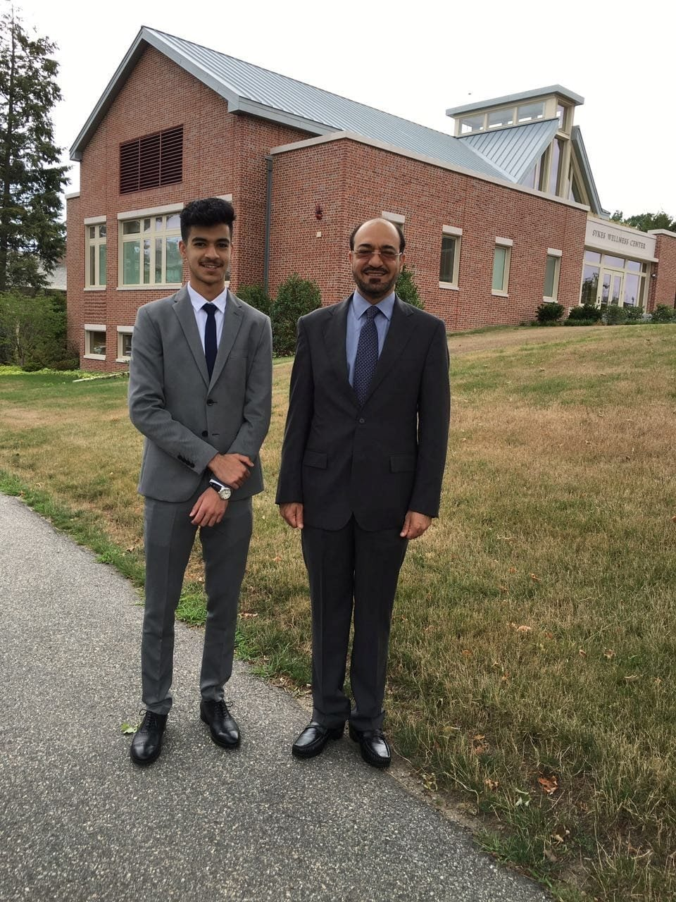 Former Saudi intelligence official Saad al-Jabri (R) poses with his son Omar al-Jabri whilst visiting schools around Boston, US in this handout picture shot in the autumn of 2016. — Reuters