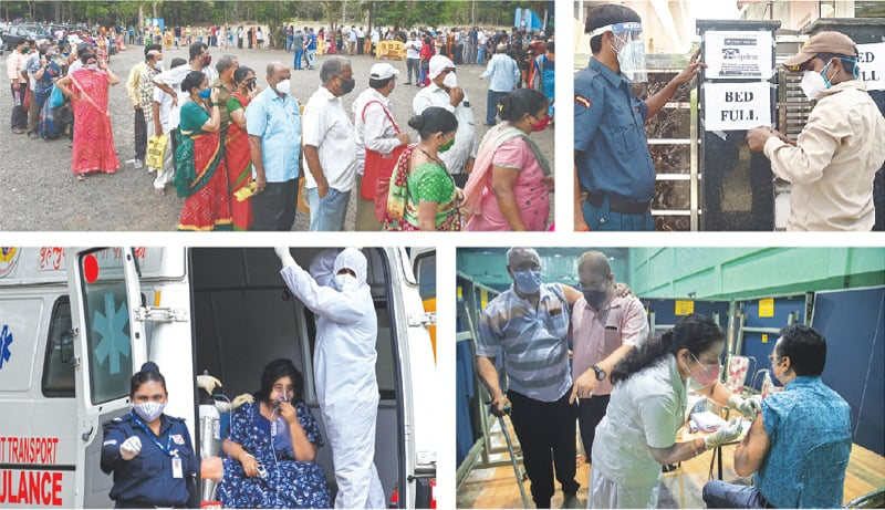 (Clockwise) People wait in queues to receive the Covid-19 vaccine at a health facility in Mumbai on Thursday. Employees put up a notice about the non-availability of beds at a hospital in Allahabad. A nurse administers the vaccine to a man in Gauhati. A health worker wearing PPE gear stands inside an ambulance with a patient while transferring her to the ICU of a recovery centre in Mumbai.— AFP/ AP