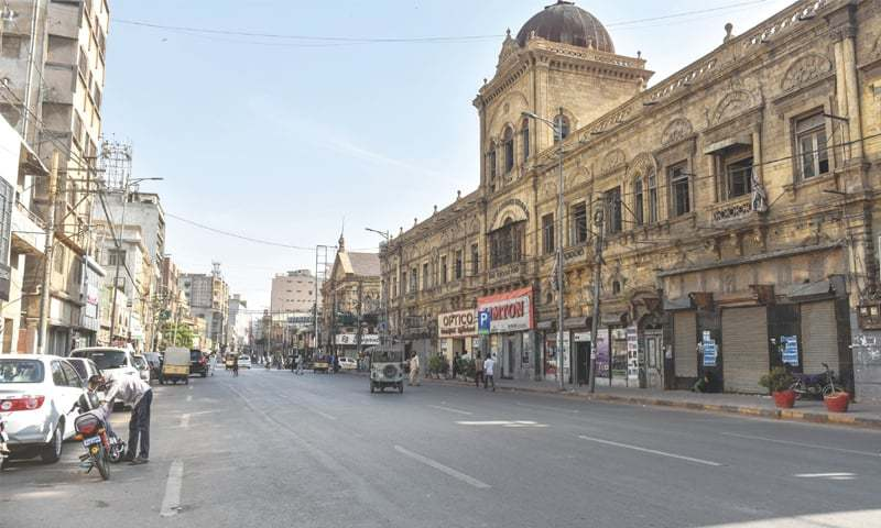 The trade and business community of Karachi came out on the roads of Saddar on Thursday to air their grievances regarding the government's decision of early closure of shops during Ramazan. — Fahim Siddiqi/White Star