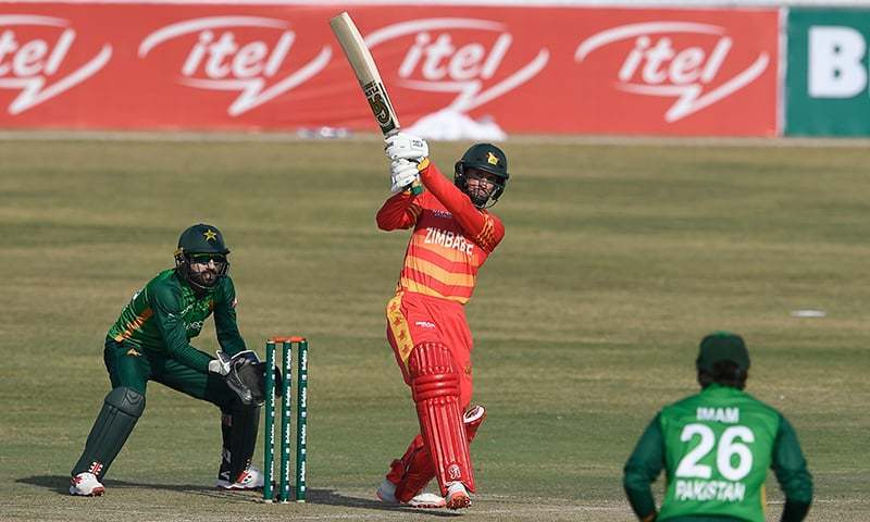 In this file photo, Zimbabwe's Sean Williams (C) plays a shot during the third one-day international (ODI) cricket match between Pakistan and Zimbabwe at the Rawalpindi Cricket Stadium on November 3, 2020. — AFP/File