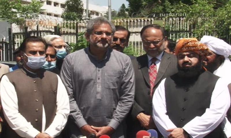 مسلم لیگ (ن) کے رہنماؤں کی نیوز کانفرنس—تصویر: ڈان نیوز