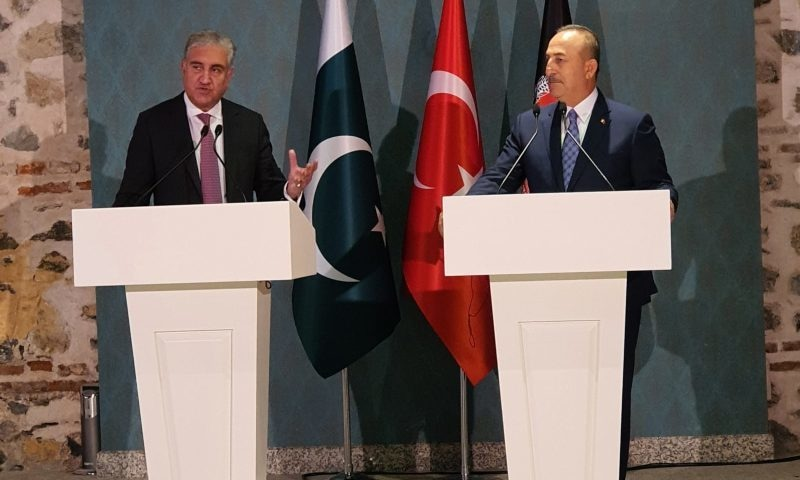 Foreign Minister Shan Mahmood Qureshi and his Turkish counterpart Mevlut Cavusoglu address a joint news conference in Istanbul on Friday. — Photo: FM Qureshi's Twitter