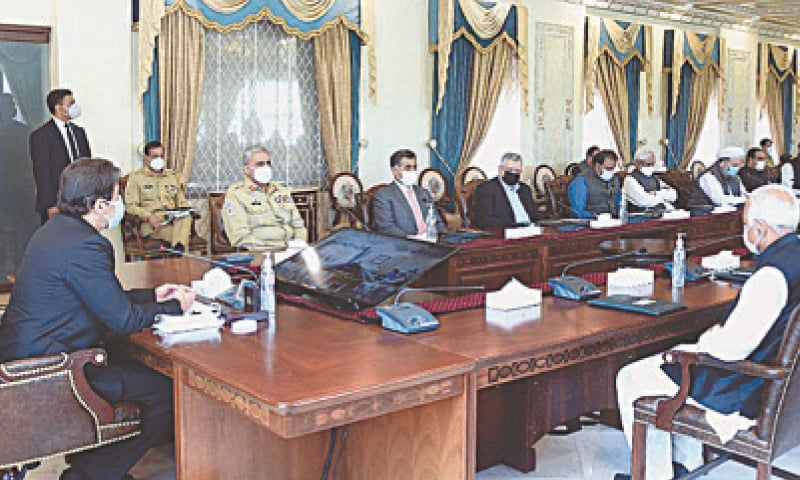 ISLAMABAD: Prime Minister Imran Khan chairing a meeting of the National Coordination Committee on  Covid-19 on Friday.—APP
