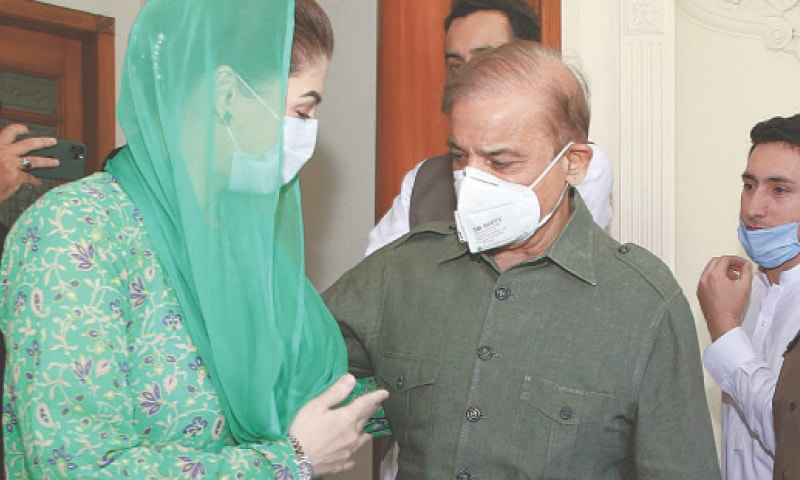 LAHORE: PML-N president Shehbaz Sharif meets Maryam Nawaz at his Model Town residence after his release from Kot Lakhpat jail on Friday..—White Star