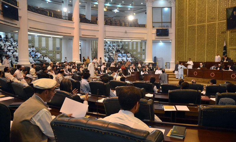 The treasury and opposition members in the Khyber Pakhtunkhwa Assembly on Friday asked the provincial government to restore the erstwhile Provincially Administered Tribal Areas' Provincial Levies Force Rules, 2015. — Dawn/File