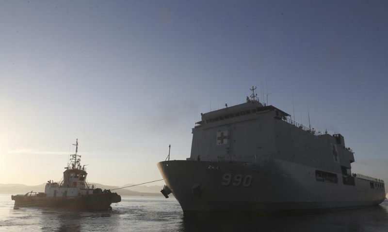 An Indonesian navy patrol ship sails to join the search for submarine KRI Nanggala. — AP