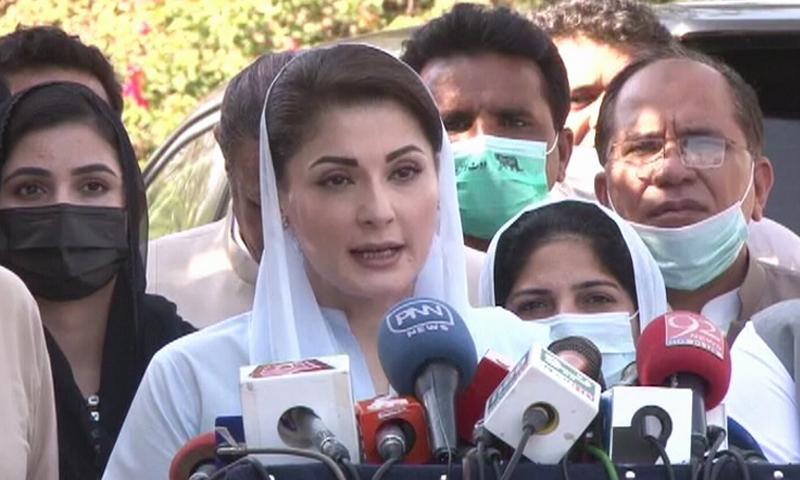 PML-N Vice President Maryam Nawaz addresses a press conference in Lahore on Saturday. — DawnNewsTV