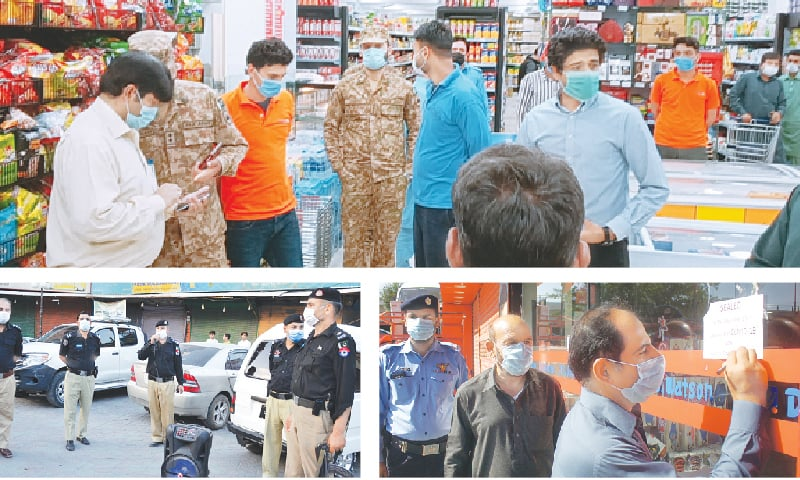 (Clockwise): Capital administration officials and army personnel guide people about the implementation of SOPs at a cash-and-carry outlet in Islamabad on Friday night. A magistrate seals a store in Islamabad on Saturday over the violation of smart lockdown. Police in Peshawar's Saddar area make announcements over loudspeaker to urge the people to abide by the SOPs. — White-Star / Online / Shahbaz Butt