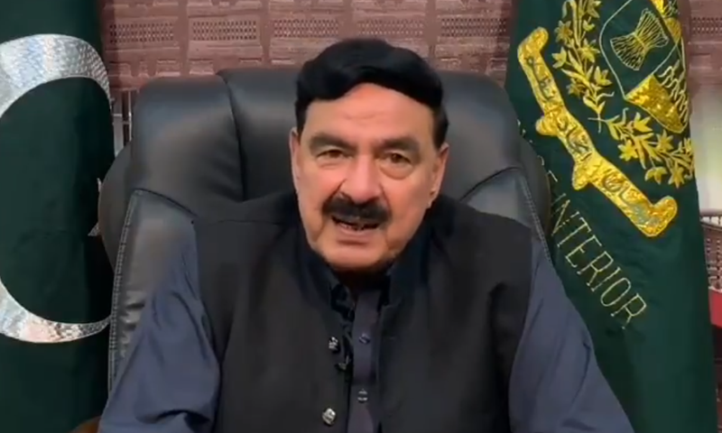 Interior Minister Sheikh Rashid announced the issuance of the notification. — DawnNewsTV