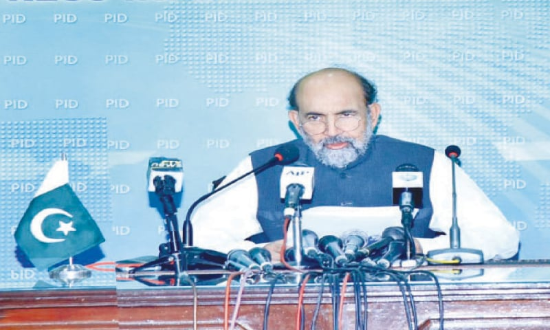 DR Qibla Ayaz addressing the news conference.—APP
