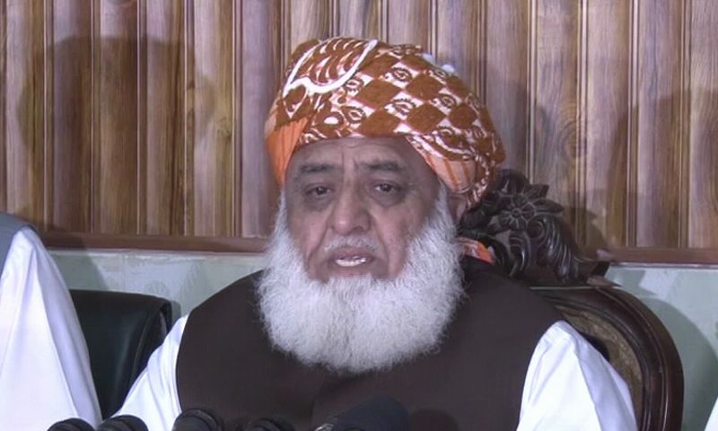 """PDM chief Maulana Fazlur Rehman on Monday announced that they had decided to launch a """"mass contact campaign with full force"""" after Eidul Fitr. — DawnNewsTV/File"""