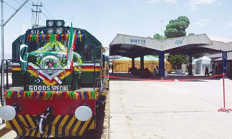 This file photo shows a goods train at the Quetta station during the inauguration ceremony.—PPI/File