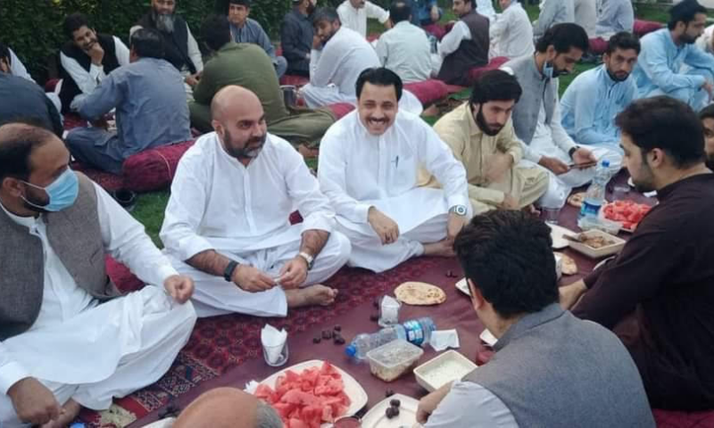 Khyber Pakhtunkhwa Health Minister Taimur Saleem Jhagra is seen at an iftar party on Monday. — Photo provided by author