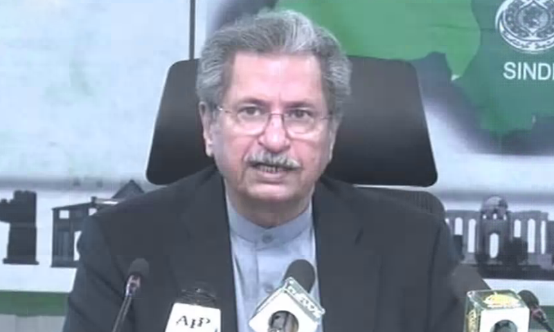 In this file photo, Education Minister Shafqat Mahmood addresses a press conference in Islamabad. — DawnNewsTV/File