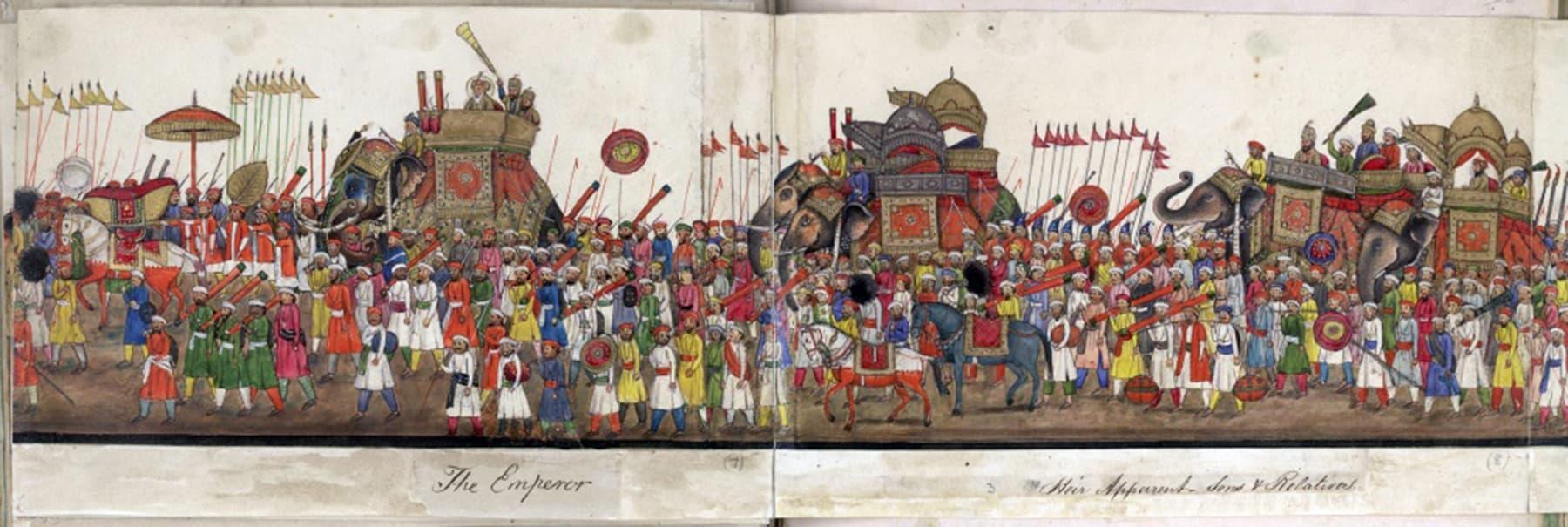 1843ء میں ہاتھی کی پیٹھ پر سوار بہادر شاہ ظفر عید جلسے میں شریک ہیں