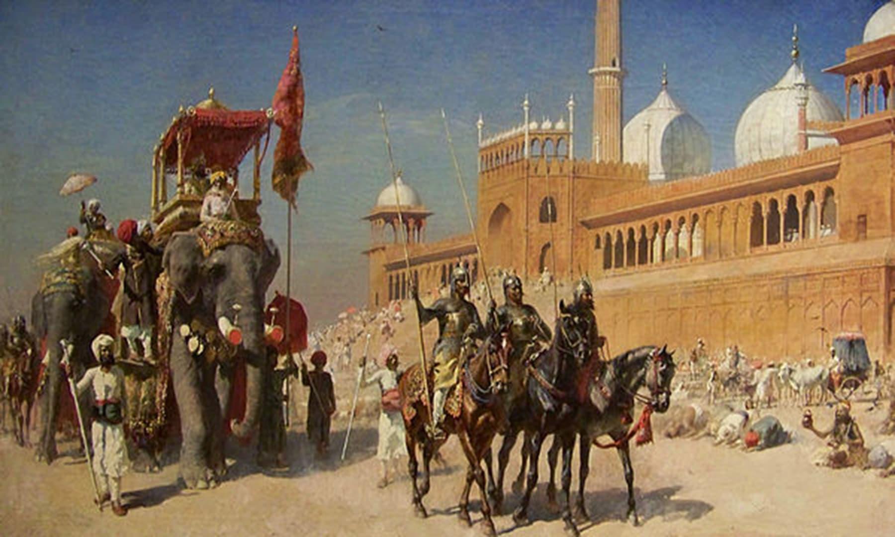 مغل شہنشاہ کے قافلے کی جامع مسجد دہلی سے واپسی کا ایک منظر—آئل پینٹنگ Edwin Lord Weeks