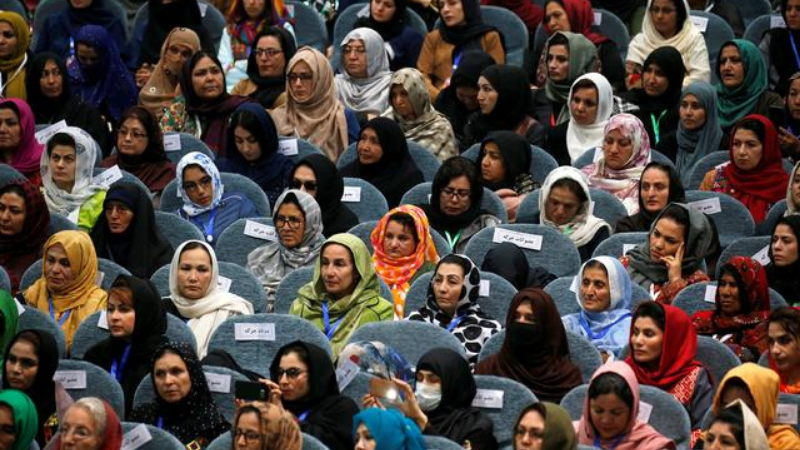 Afghan women attend a consultative grand assembly, known as Loya Jirga, in Kabul, Afghanistan, April 2019 — Reuters/File