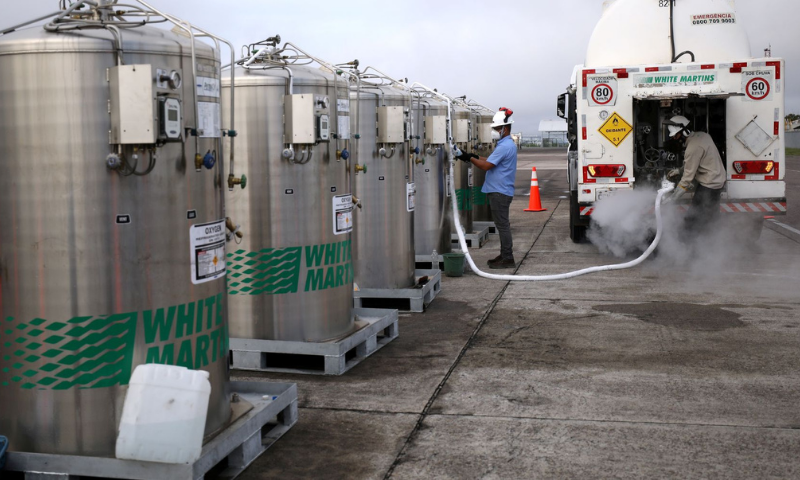 A truck is loaded with oxygen to fill the local hospitals, after it arrived on a Brazilian Air Force airplane in Manaus airport, amid the coronavirus outbreak in Brazil. — Reuters/File
