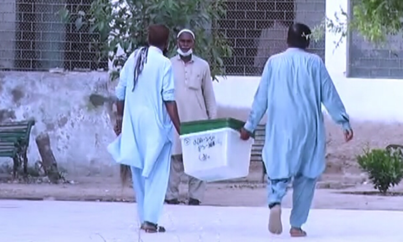 This photo shows ballot boxes being carried to polling stations on Thursday. — DawnNewsTV