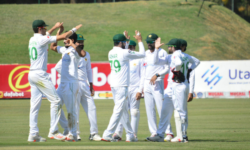 Pakistan pace pair Hasan Ali and Shaheen Shah Afridi shared eight wickets between them to dismiss Zimbabwe for 176 on the opening day of the first Test in Harare on Thursday. — Photo courtesy Pakistan Cricket Twitter