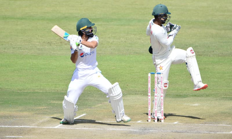 Fawad Alam in action on day two of the first Test against Zimbabwe. — Photo courtesy: PCB Live Twitter