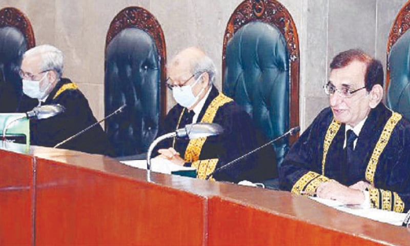 ISLAMABAD: Chief Justice of Pakistan Justice Gulzar Ahmed presiding over the full court reference on Friday. — INP