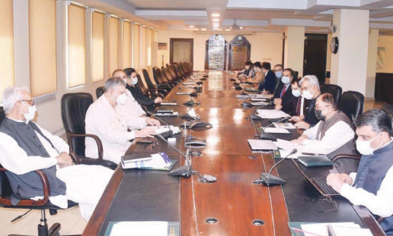 ISLAMABAD: Finance Minister Shaukat Tarin, in a virtual meeting with World Bank Vice President Hartwig Schafer, on Friday.—APP