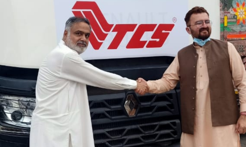 The first-ever shipment under the Convention on the International Transport of Goods for traffic-in-transit of goods across the border has left for Uzbekistan from Pakistan via the Torkham border customs station. — Photo courtesy Razak Dawood Twitter