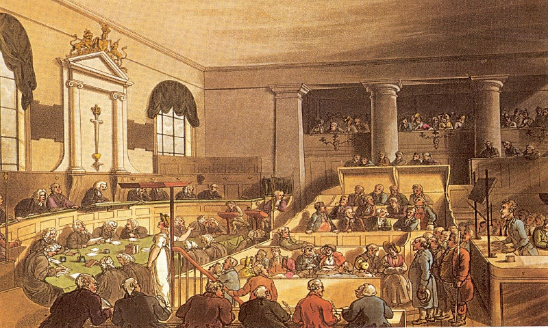 Trial in session at 'The Old Bailey, Known Also as the Central Criminal Court' — 1808 illustration by Thomas Rowlandson and Augustus Pugin, published in Volume 2 of The Microcosm of London: or, London in Miniature | Public Domain
