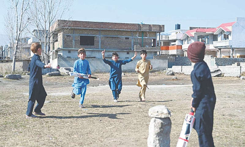 In this picture taken in February 2021, children play cricket at the site of the demolished compound of Osama bin Laden in northern Abbottabad | AFP