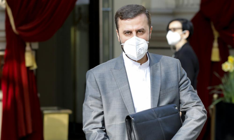 Iran's Governor to the International Atomic Energy Agency (IAEA) Kazem Gharib Abadi leaves the 'Grand Hotel Wien' where closed-door nuclear talks take place in Vienna, Austria on Saturday. — AP