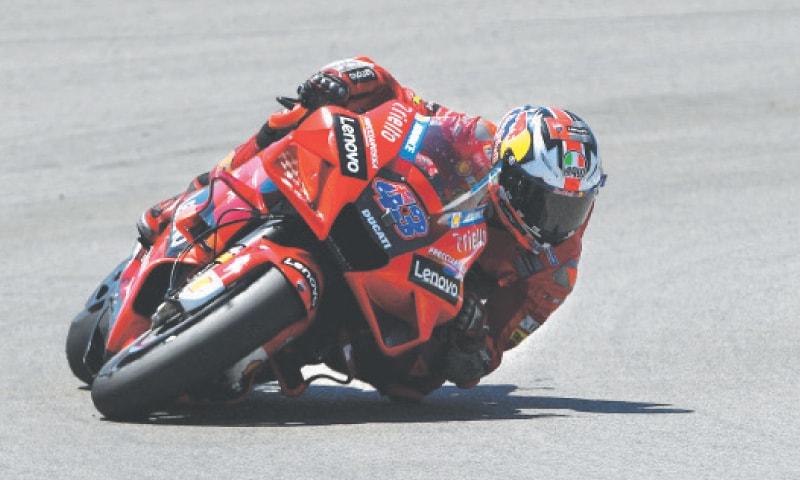 JEREZ FRONTERA: Ducati's Jack Miller rides during the Spanish MotoGP at the Jerez Circuit on Sunday.—AFP