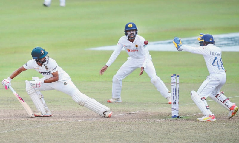 PALLEKELE: Bangladesh batsman Najmul Hossain Shanto looks on after being clean bowled during the second Test against Sri Lanka at the Pallekele International Cricket Stadium on Sunday.—AP