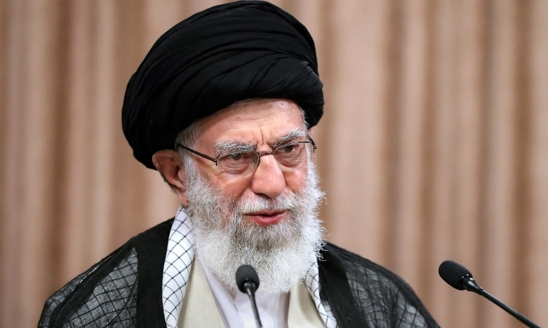 A handout picture provided by the office of Iran's Supreme Leader Ayatollah Ali Khamenei on May 2, 2021 shows him giving a live televised speech in the capital Tehran. — AFP