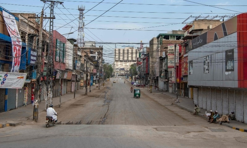 A general view of a deserted commercial market area during lockdown in Peshawar on May 2. — AFP