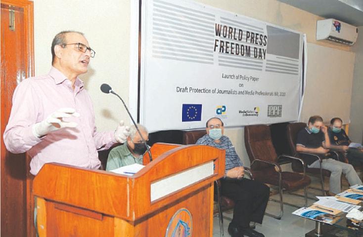 PPF secretary general Owais Aslam Ali speaks at the programme.—PPI