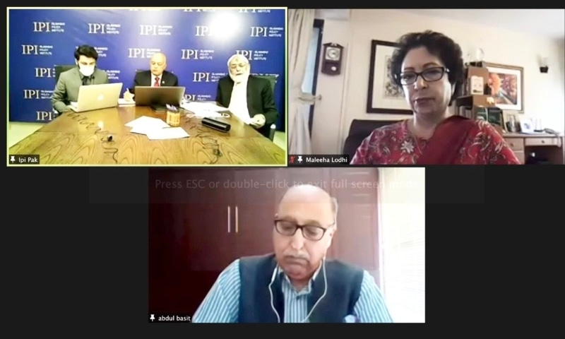 Experts, while speaking at a webinar on 'Back-Channel Talks and India-Pakistan Relations', at Islamabad Policy Institute (IPI) emphasised ascertaining Indian intentions before investing in the process further. — Photo courtesy Maleeha Lodhi Twitter