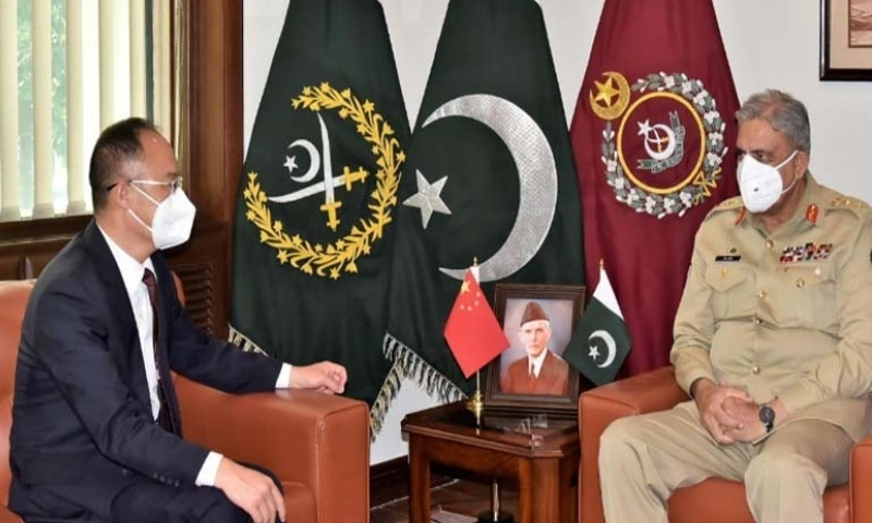 Ambassador of China to Pakistan Nong Rong called on Chief of the Army Staff General Qamar Javed Bajwa at the General Headquarters on Monday. — Photo courtesy Radio Pakistan