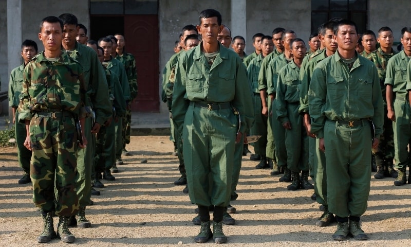 In this 2012 file photo, recruits of the Kachin Independence Army, one of the country's largest armed ethnic groups, receive training at a military camp near Laiza. the area controlled by the Kachin in northern Myanmar. — AP