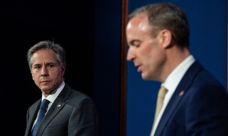Britain's Foreign Secretary Dominic Raab and U.S. Secretary of State Antony Blinken hold a joint news conference at Downing Street following their bilateral meeting in London on May 3. — Reuters