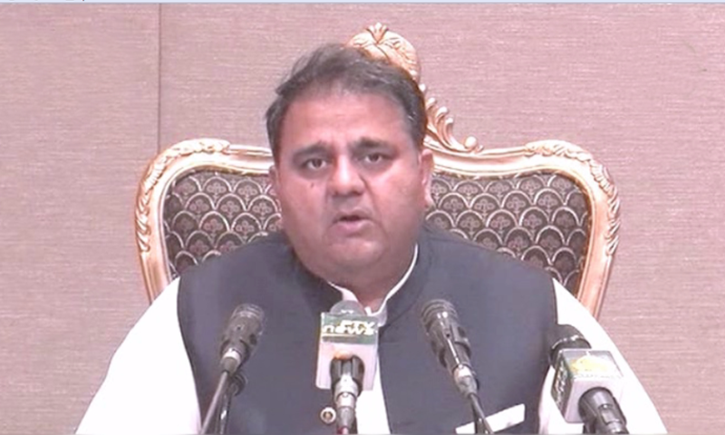 Minister for Information and Broadcasting Fawad Chaudhry addresses a press conference in Islamabad on Tuesday. — DawnNewsTV