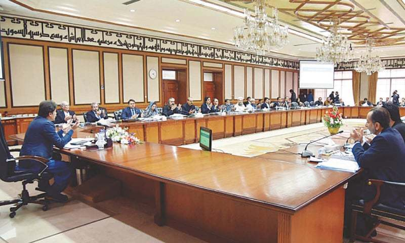 This file phot shows Prime Minister Imran Khan presiding over a meeting of the federal cabinet. — PPI/File