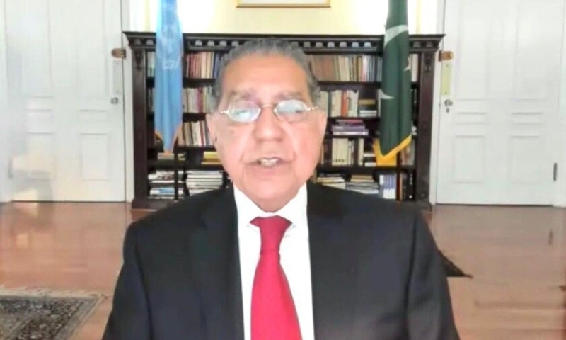 Pakistan's UN envoy Munir Akram speaks at the annual Partnership Forum, organised by the UN Economic and Social Council. — Photo courtesy Twitter